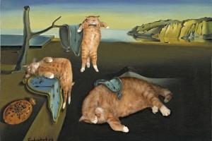 Artista russa inclui seu gato em obras de arte famosas e resultado é hilário
